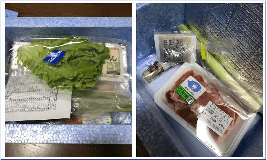 クーラーボックスと食材セット